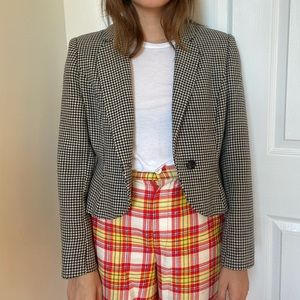 Vintage Houndstooth Fitted Blazer